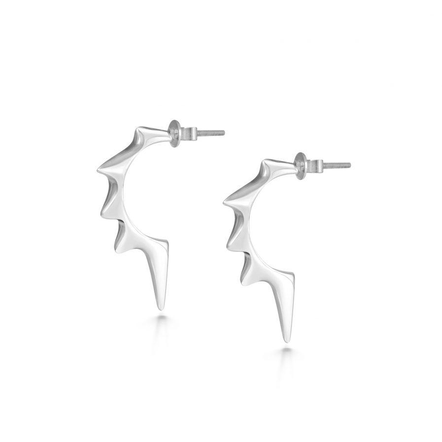 Spiky silver hoop earrings Julie Nicaisse Jewellery Designer in London