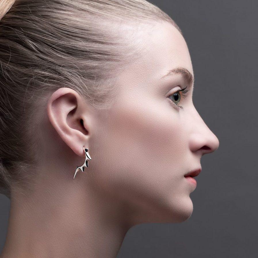 Designer hoop earrings in silver Julie Nicaisse Jewellery Designer in London