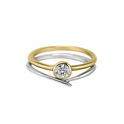 diamond engagement ring yellow and white gold