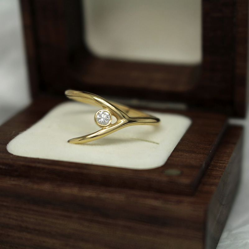 Unusual handmade wedding ring by Julie Nicaisse - Jewellery Designer in London