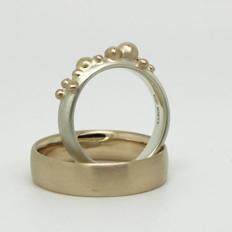 gold granulation bespoke wedding rings by Julie Nicaisse Jewellery Designer in London